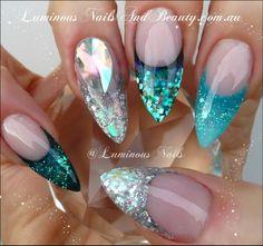 Luminous Green/Blue & Silver Nails...