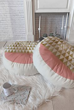 Georgiana Paraschiv Gold Triangles Floor Pillow Round | DENY Designs Home Accessories