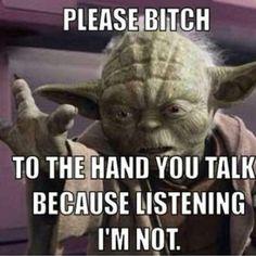 Yoda gives the hand!