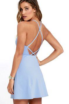 Periwinkle Blue Dress - A-Line Dress - Fit-and-Flare Dress - Backless Dress - $42.00
