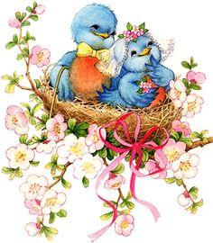 49 Ideas blue bird illustration beautiful for 2019 Bird Drawings, Cute Drawings, Bird Illustration, Bluebirds, Cute Birds, Vintage Greeting Cards, Vintage Easter, Bird Art, Beautiful Birds