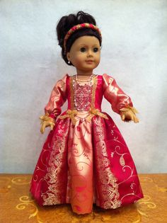 Renaissance Princess Doll Dress 2012 Couture Collection  - fits 18 inch American Girl Style Doll -  via Etsy.