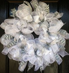 White and Silver Deco Mesh Wreath for Weddings, Confirmation, Communion, Winter, Frozen on Etsy, $50.00