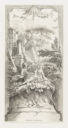 """Tombstone:  Print, """"Rural Homage"""", 1740.  François Boucher .1740. Etching and engraving on white laid paper.Smithsonian, Cooper-Hewitt, National Design Museum"""