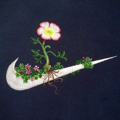 """""""flowery embroideries stitched on classic sportswear logos by james merry"""""""