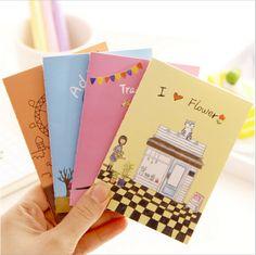 32pcs/lot Mini cartoon illustration notebook Pocket Notepad Kawaii stationery Papelaria Material escolar School supplies WJ0050 #Affiliate