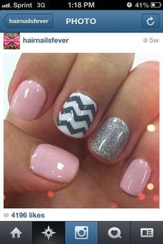 Cute chevron & pink fashion nails