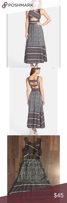 """Free People Tribal Tale midi cut out dress, size 4 Stunning cutout dress from Free People. Brown, black and white colors, well made dress. Had a hidden zipper on the right side. This is 100% cotton. The bust measures 16 inches across, the waste is 13 inches across. It is 48"""" long. Free People Dresses Midi"""
