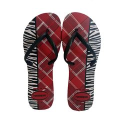 Havaianas Red Zebra Stripe Flip Flops #stellasaksa #havaianas #red #zebra #stripes #ladies #flipflops