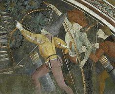 Wall paining, ca. 1470-1475. The chapel of Saint Sebastian, Saint-Étienne-de-Tinée, Côte d'Azur, France