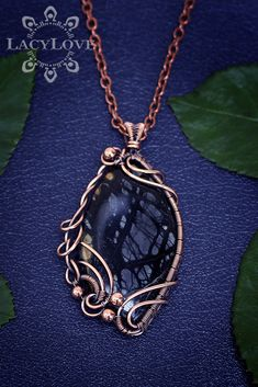 Wire wrapped copper pendant with black Picasso jasper stone ...S U B S C R I B E... Get latest discounts and news straight to your inbox! - http://lacylove.com.ua/subscribe #wire #wrapped #jewelry #wrap #pendant #copper #weaved #necklace #jasper