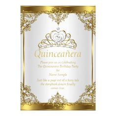 Gold White Pearl Princess Quinceanera Party