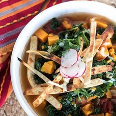 After a day in arenas (ok it's only noon but it feels like a whole day) I'm thinking soup for dinner.  Yes? #veganfood #healthyrecipe Sweet Potato Tortilla Soup