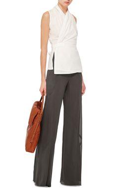 High Waisted Bias Seam Wide Legged Pants by RICK OWENS Now Available on Moda Operandi