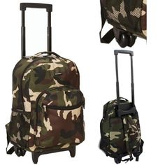 Rolling School Backpack Wheeled Telescoping Handle Camouflage Fashion Book Bag…