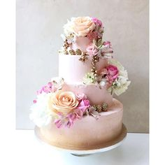 Pink and peach blush ombre cake - wedding cake by Lily Vanilli with gold detail