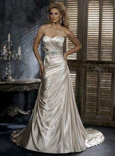 Sweetheart Dropped waist A-line Satin wedding dress- loos a little formal but like the shape and color
