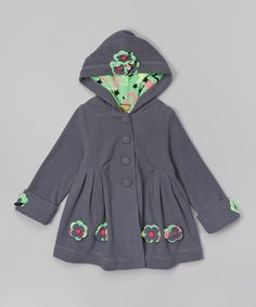 Look at this Maria Elena Gray Floral Appliqué Swing Coat - Toddler
