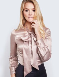 Women's Taupe Fitted Satin Blouse - Pussy Bow (Hawes and Curtis) Blouse Sexy, Bow Blouse, Satin Top, Silk Satin, Office Wear Dresses, Sexy Bluse, Look Fashion, Fashion Outfits, Gothic Fashion