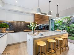 Open plan: The bright airy kitchen opening onto the outdoor area is a big selling point fo. The Block Kitchen, Open Plan Kitchen, Kitchen Ideas, Kitchen Benches, Kitchen Dining, Kitchen Interior, Home Interior Design, Kitchen 2016, Townhouse Interior