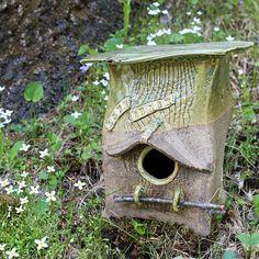 Tall Mossy Green Ceramic Birdhouse  Handmade Decorative Bird