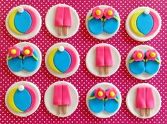 Beach Party Double Popsicles, Flip Flops & Beach Balls Edible Fondant Birthday Cupcake Cake Toppers by TopCakeDecors on Gourmly