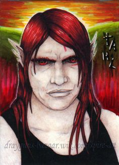 ACEO art fantasy cartoon portrait anime red sunset original character SMcNeill #ebay #aceo #anime #red
