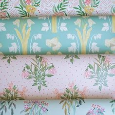 """Rolls on rolls of wallpaper! From top to bottom: """"Ava"""", """"Lucile"""", """"Brooklyn"""" and """"Lara"""""""