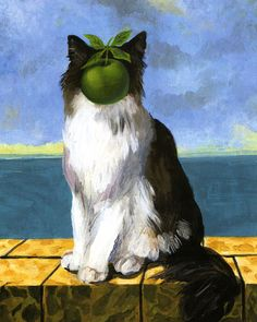 Rene Magritte / this cat is the 'Apple ' of someone's eye ? Or just an image on someone's APPLE ( I .Pad ) ? ✔️