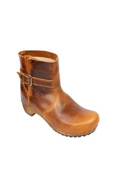 433075018463 Sanita Classic low biker clog boot in antique finish leather 452330