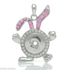 5PC Charm Pendant Rabbit Fit Snap Buttons White Pink Rhinestone 5.4x4.1cm