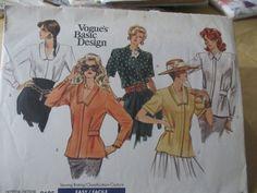 1980s Vogue Basic Design 2105 Women's Blouse  Sewing Pattern Size 12 14 16  Uncut  Factory Folded by GwensHaberdashery on Etsy