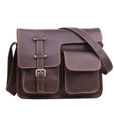 Vintage Leather Mens Messenger Bag/ Crossbody Shoulder Bag/Satchel Bag