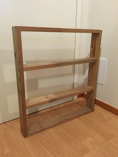 Diy toy shelf made out of recycled wood.