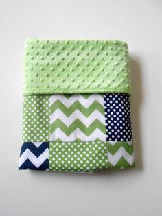 Minky Baby Boy Patchwork Quilt Blanket Riley Blake Chevrons and Dots Michael Miller Lotsadots Navy Green--Made to Order. $50.00, via Etsy.