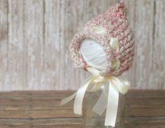Beige and Pink Knitted Newborn Pixie Bonnet with Beige Ribbon by trueinspirationprops, $30.00  Newborn photography prop.  #newbornphotography, #newbornbonnet, #pixiebonnet, #knittedbonnet,