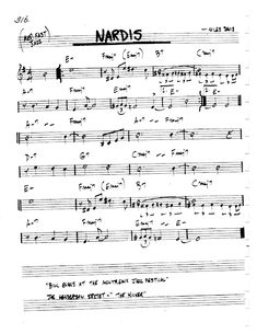 [Jazz Real Book I : Page Nardis (Miles Davis) - Jazz Standard Sheet Music Jazz Sheet Music, Free Sheet Music, Jazz Songs, Jazz Standard, Duke Ellington, Backing Tracks, Jazz Guitar, Miles Davis, Blues Rock