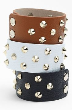 Cara Studded Leather Bracelet available at Leather Accessories, Leather Jewelry, Fashion Accessories, Leather Bracelets, Fashion Bracelets, Jewelry Bracelets, Fashion Jewelry, Bangles, Studded Leather