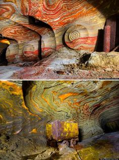 Abandoned mines beneath Yekaterinburg ( Russia ).                  No, you're not tripping – these psychedelic salt caves actually exist. These photos were taken deep underground in the abandoned mines beneath Yekaterinburg, Russia. Layers of carnallite – a mineral used in fertilizers – band the tunnel walls, producing these technicolor masterpieces. Think a subterranean version of China's stunning rainbow mountains.