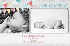 Newborn baby boy or girl announcement Banner style by yellowlemons, $15.00