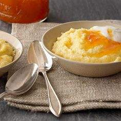 Vanilla Polenta Breakfast Pudding Vanilla Polenta Breakfast Pudding  Vanilla bean, Greek yogurt, and a splash of honey come together in a sweet, low-cal polenta that fits into any Easter brunch menu. Add a spoonful of apricot preserves to each bowl for a touch of fruit flavor.