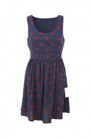 Red Dots Dark Blue Tank Dress ;O(∩_∩)O~~ #Romwe