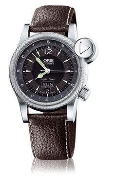 Oris 01 635 7568 4064-LS Men's Watch Flight Timer Day Date Dark Brown Leather Strap