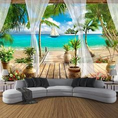 Photo Wallpaper Open Window With Curtains Seaview Sandy Beach Mural - Wallpaper World Tv In Bedroom, Bedroom Sofa, Beach Wall Murals, Tree Wall Murals, Ceiling Murals, Wall Art, 3d Living Room, Kitchen Living, Foto 3d