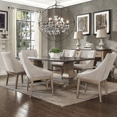 Janelle Extended Rustic Zinc Dining Set - Sloped Arm Chairs by iNSPIRE Q Artisan Piece Set - Beige Linen) dining room decor Dining Room Bar, Elegant Dining Room, Dining Room Design, Dining Sets, Taupe Dining Room, Dining Room With Rug, Dining Tables, Dining Room Drapes, Kitchen Dining