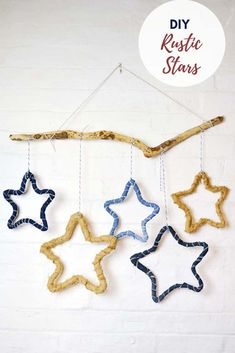 Decorate your home with gorgeous rustic stars. They can be made from recycled jeans or burlap on a simple wireframe. A great upcycled Christmas decoration. Decorate your home w Recycled Christmas Decorations, Recycled Decor, Recycled Materials, Handmade Christmas, Christmas Crafts, Christmas Ornaments, Christmas Tree, Star Diy, Arts And Crafts