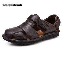 EE.UU. 6-12 Tamaño Grande 45 46 de Verano Para Hombre Casuales de Cuero Real cerrar Toe Sandalias Cómodas Del Bucle Del Gancho Deporte Al Aire Libre Ahuecado Zapatos de Playa(China (Mainland))