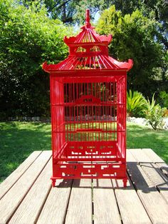 Red pagoda birdcage - beautiful!