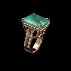 RRV $81500 - 18ct Y.G, 20.06ct Colombian Emerald & Diamond Ring