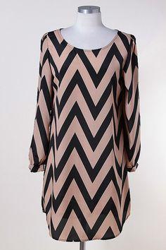 Black & Taupe Chevron Dress
